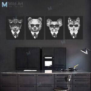 Vintage Fashion Animal Mafia Bear Poster A4 Wall Art Home Decor Canvas Painting