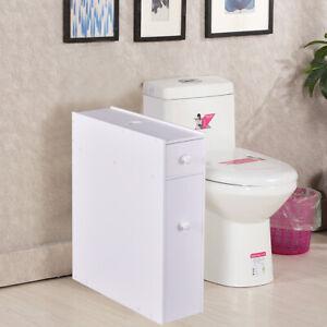 details sur rangement wc meuble de salle de bain 16x48 5x58cm avec 2 tiroir bois blanc