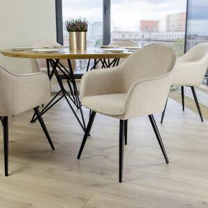 details sur chaise salle a manger chaise tapissee bill roux jaune miel beige pieds en acier