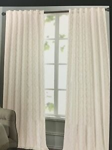NEW TAHARI HOME SET OF 2 WINDOW PANELS DRAPES TAN WHITE 52 X 96 MEDALLION EBay