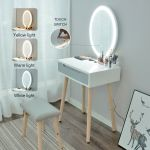 White Vanity Table Drawer Mirror Makeup Desk With Bulb Cold Light Living Room For Sale Online Ebay