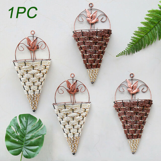 Iron Simulation Flower Basket Wall Hanging for Home Party ... on Decorative Wall Sconces For Flowers Hanging Baskets Delivery id=47490