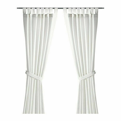 ikea lenda curtains 2 panels 1 pair white 55x98 open no tie backs for sale online ebay