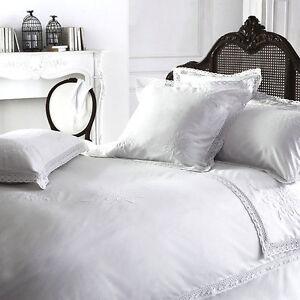 Cuscino shabby chic con foglie. Lusso Bianco Vintage Shabby Chic Pizzo Yvette 100 Cotone Biancheria Letto Ebay