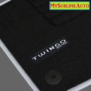 details sur tapis de sol renault twingo 2 ii de 2007 a 2014 velours edition gris logo brode