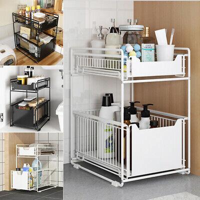 2 tier sliding basket metal wire cabinet organizer under sink storage rack shelf ebay
