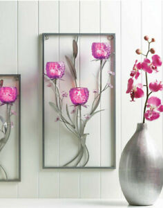 large Magenta PURPLE SILVER modern art wall sconce Votive ... on Candle Wall Sconces With Flowers id=97613