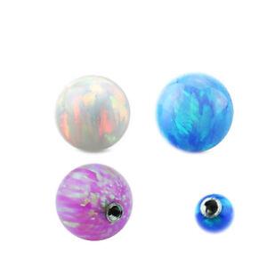 1,2mm synth. Opal Piercing Schraub Kugel 3mm Schimmer Ohr Lippe Augenbraue