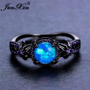 Women Blue Fire Opal Star Flower Amethyst Ring Black Gold