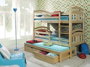 Image Is Loading Bunk Beds Wooden Triple Children 039 S Mattresses