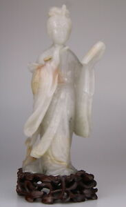 Antique Chinese Carved Aventurine Jade Kwanyin Figure Wood Stand 19th C. Qing