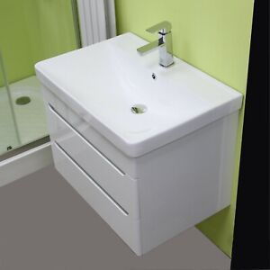 details about vanity unit cabinet basin sink bathroom wall hung mounted extra deep bowl 700 mm