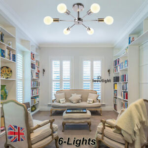 details about semi flush mount 6 light sputnik chandelier modern lighting dining room kitchen