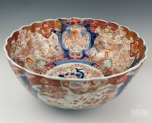 Chinese Export Dragon Floral Scroll Painted Porcelain LARGE Scalloped Bowl HTP