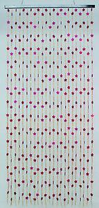 details sur rideau de porte en perles de bois motifs fleurs et batonnets bambous