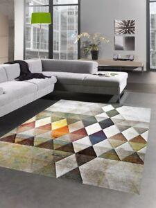 details sur tapis de salon tapis court pile avec des diamants couleur orange vert brun