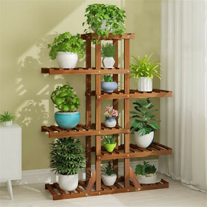 6t Tall Multiple Wood Plant Stand Indoor Outdoor Vertical Carbonized Flower Rack Ebay