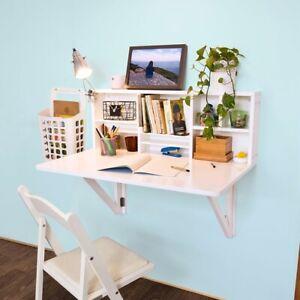 details sur sobuy bureau table murale rabattable avec armoire murale integree fwt07 w fr