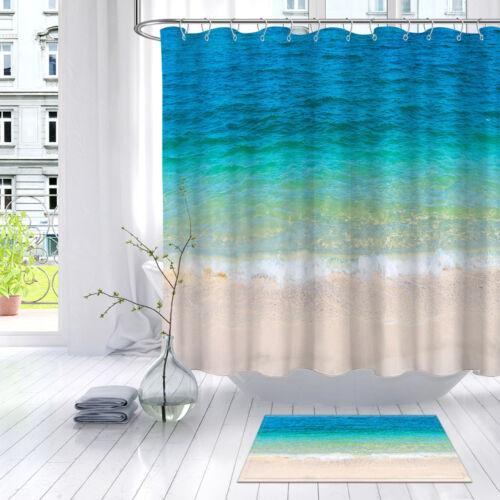 sandy beach sea water bathroom waterproof fabric shower curtain liner 12 hooks garden curtains patterer shower curtains
