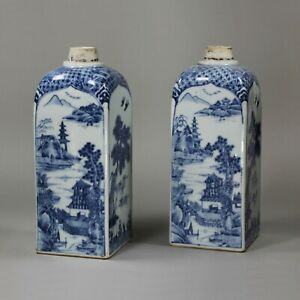 Pair of Chinese blue and white canisters, 18th century