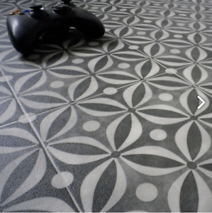 details about vinyl flooring kitchen bathroom lino roll sheet onyx black cement tile effect