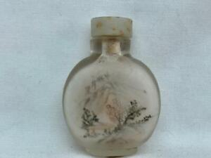 Fine & Small Vintage Chinese Inside Painted Signed Glass Snuff Bottle