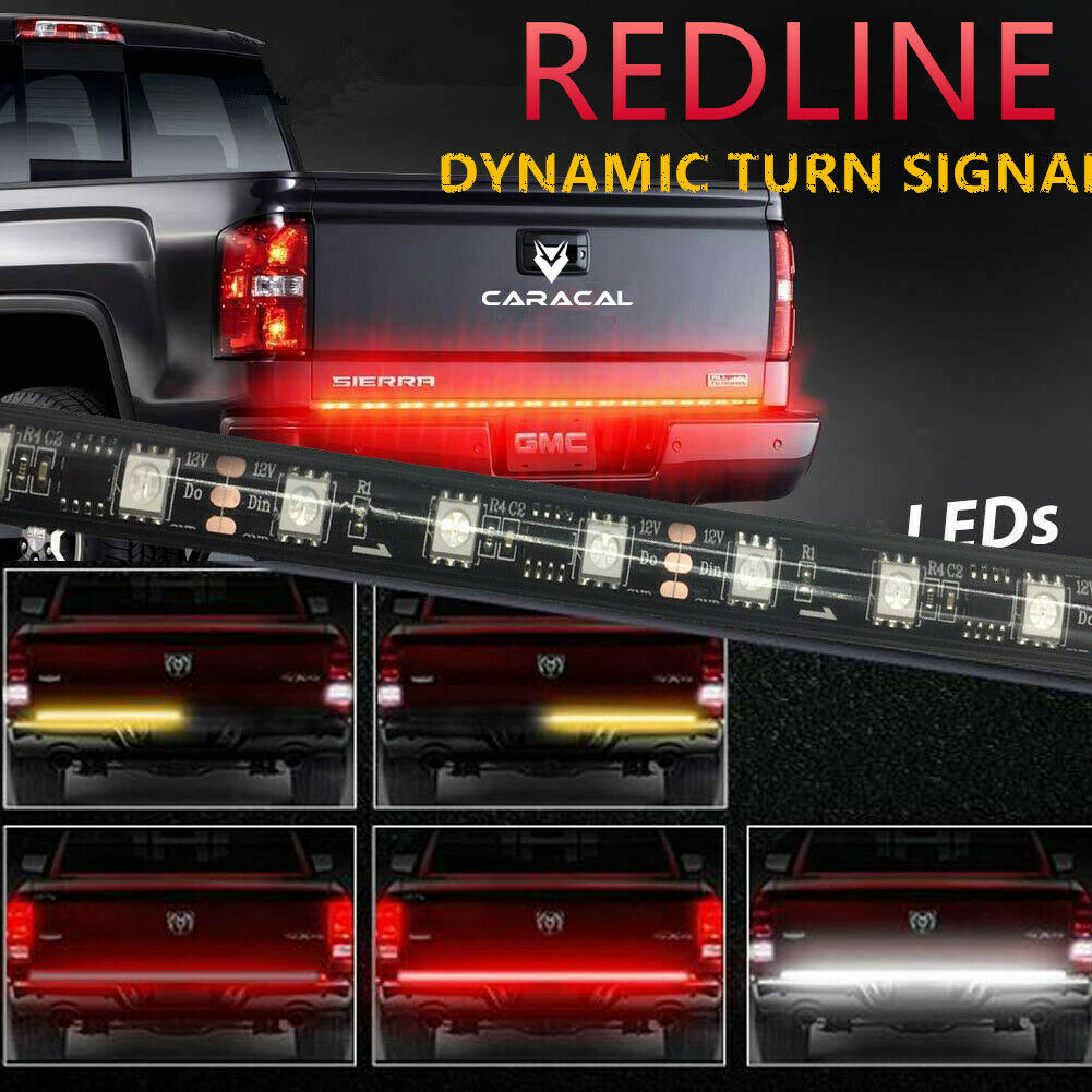 60″ Sequential Flowing Signal Light LED Strip Tailgate Bar Brake Reverse Truck