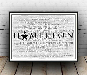 details about hamilton broadway musical poster quotes lyrics wall art poster all sizes