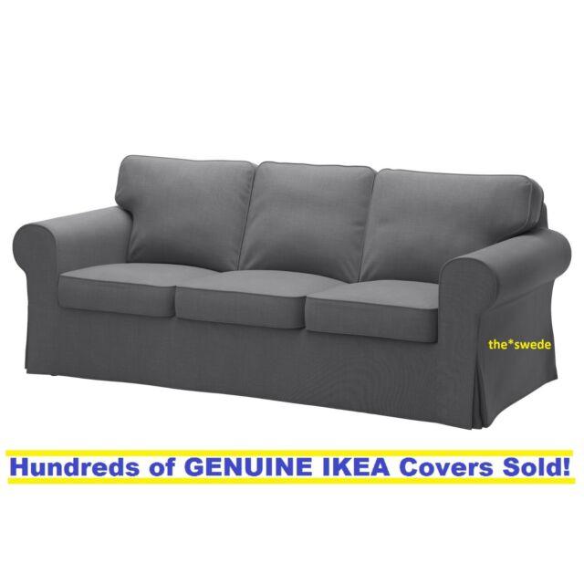 ikea ektorp three 3 seat sofa slipcover cover nordvalla dark gray