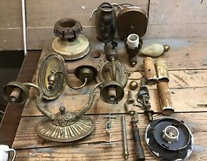 Lot Of Antique Wall Sconces And Various Parts Brass ... on Wall Sconce Parts id=33713