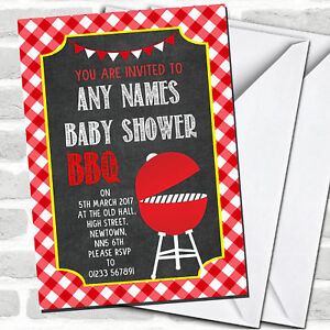 Details About Red Bbq Invitations Baby Shower