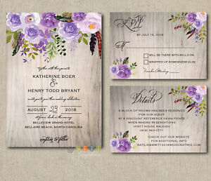 Details About 100 Personalized Wedding Invitations Rustic Wood Lavender Lilac Fl Suite