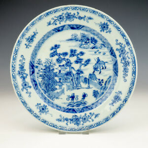 Antique Chinese Porcelain - Blue & White Scenes Oriental Plate