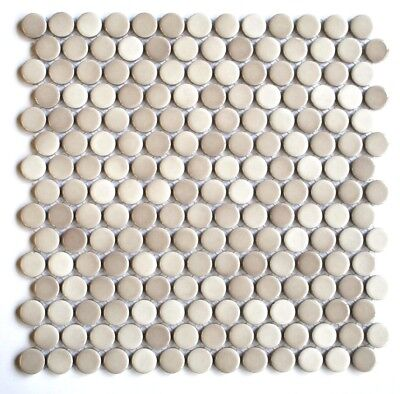 penny round 3 4 multi shade bisque porcelain mosaic wall and floor tile bath ebay