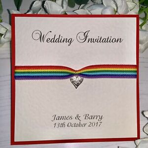Details About Rainbow Wedding Invitations Pattered Heart Charm With Ribbon Double Sided