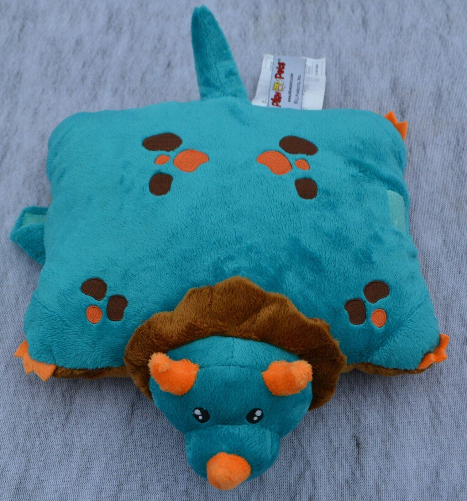 pillow pets colorful blue dinosaur stuffed animal plush toy