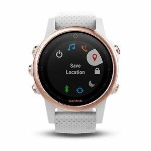 Garmin fenix 5S Rose Goldtone GPS Watch Sapphire With White Band 010-01685-16