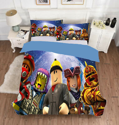 3pcs roblox boys bedding set comforter quilt cover pillowcases duvet covers gift ebay
