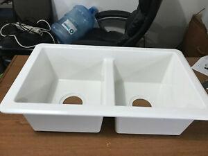 details about rv kitchen sink 27 x16 x7 double basin white kitchen sink new plastic 1f
