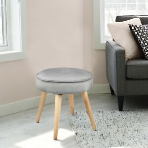 details about alannah padded soft round ottoman footrest stool button tufted polyester fabric