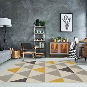 Yellow Mustard Grey Geometric Rug Ochre Nordic Contemporary Living Room Rugs Ebay