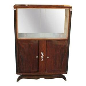 details about french art deco macassar ebony bar display cabinet by jules leleu as is