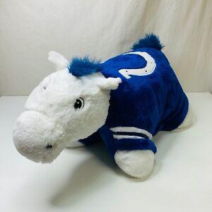 details about indianapolis colts pillow pet nfl plush toy stuffed animal blue white horse euc
