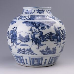 Antique Chinese Blue and White Porcelain the Eight Immortals Pot