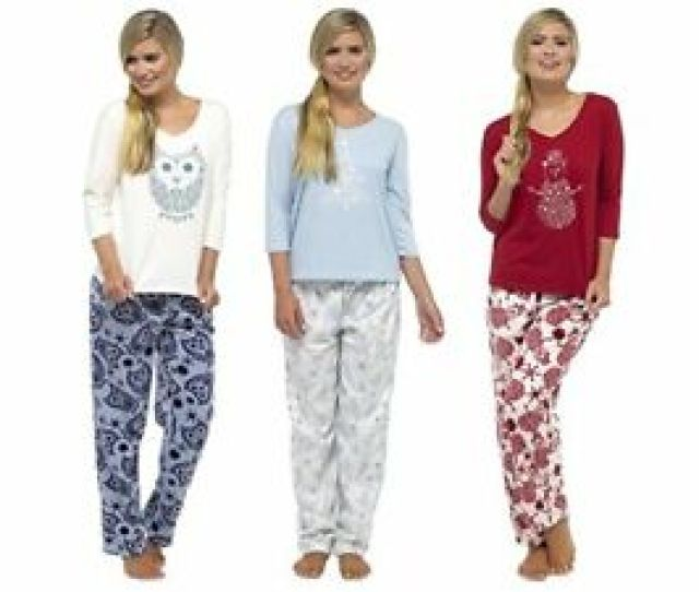 Image Is Loading Ladies Christmas Winter Warm Cosy Traditional Sleep Suits