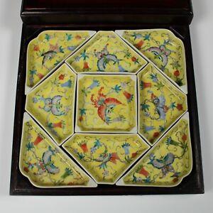 Chinese Sweetmeat Dish Set Yellow Glazed Famille Rose With Box 20thC
