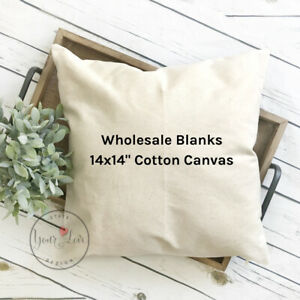 details about 14x14 wholesale blank 10 oz cotton canvas throw pillow cover white or natural