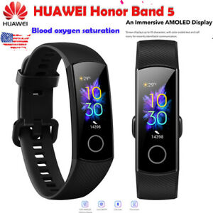 Original New Huawei Honor Band 5 Smart Wristband Amoled Color Touchscreen black