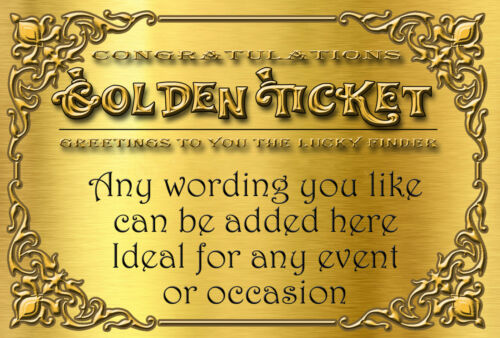 golden ticket personalised birthday party invitations envelopes vip d7 a6