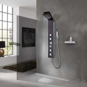 Vidaxl Systeme Panneau Douche Verre Marron Douchette Salle De Bain Toilette Ebay